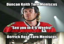 Hockey vs. Basketball. Duncan Keith is an actual cyborg. Won his 3rd Stanley Cup with this injury, didn't even think i