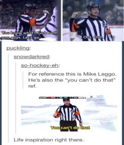 This may be the only NHL ref I actually enjoy. Lol. True. Sorry about the language, but its hockey. ) P