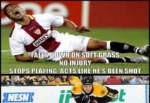 fall down on soft grass no injury ,stop playing acts like he's been shot